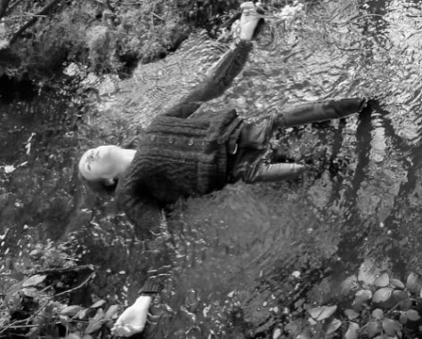 Ophelia, 2015. Grayscale screenshot from video.